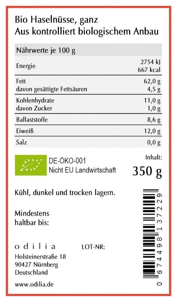 odilia Bio Haselnüsse ganz kontrollierter Anbau